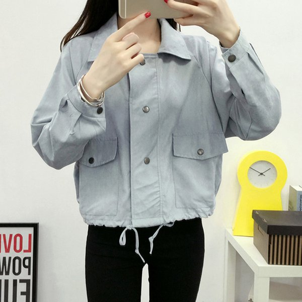 2018 Spring Autumn Women Jacket Loose Pocket Casual Cropped Tops Solid Jacket Coat Fashion Female Outerwear Student Short Coat
