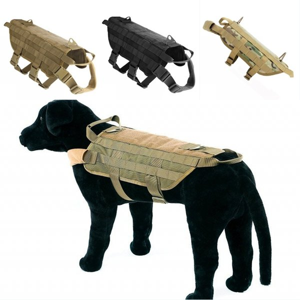 Tactical Dog Training Vest Harness With Mesh Padding and Two Handles Adjustable Outdoor Camo Harness Support FBA Drop Shipping G703F