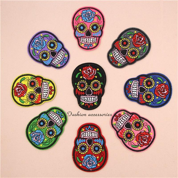 9 colors Cloth Paste Patch Skull Flowered Embroidery Clothing Fabric Bag Shoes Cap Artifact Accessories Sewing Patches MMA585