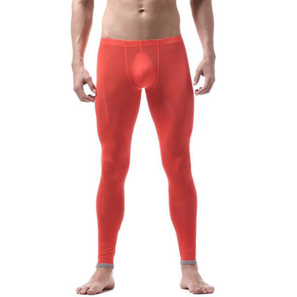 Pants Men Sexy Transparent Sheer Gay underwear Fashion tight legging long Johns See through ice silk underpants sleep bole