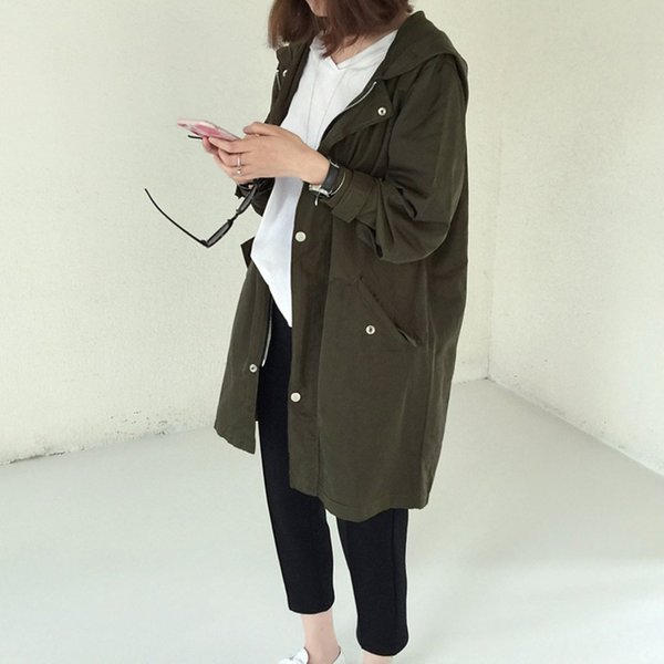 Women Windbreaker Fashion Women Spring Autumn Loose Type Jacket Outwear Letter Printed Long Style Female Jacket Coat With Zipper S18101203