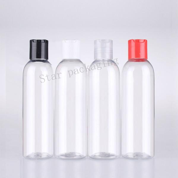 50pcs botellas plásticas del ANIMAL DOMÉSTICO del champú de 200ml botellas con las tapas de tornillo del disco Recipiente del ANIMAL DOMÉSTICO del casquillo 200cc, empaquetado cosmético, crisol líquido