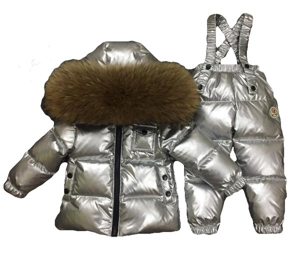 Inverno Conjunto De Prata Crianças Bebê Menino Roupas Grossas 90% Branco Pato Para Baixo Crianças Terno de Esqui Casaco Bebés Parka Menina Para Baixo Casaco