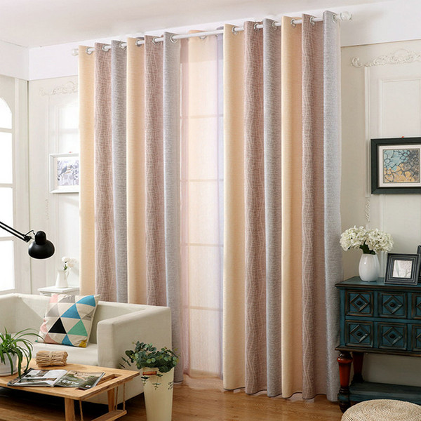 best selling Rustic Cotton Linen Blackout Curtain Water Wave Pattern Gradient Romantic Drapes Sheer for Living Room Bedroom Window Treatment