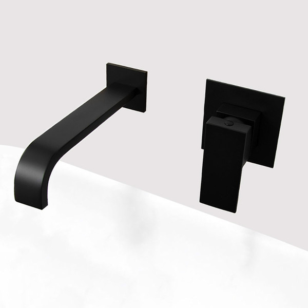 top popular Matt Black Plated Bathroom Wall Mounted Faucet Quality Brass Waterfall Basin Water Mixer Single Handle Square Tapware 2019