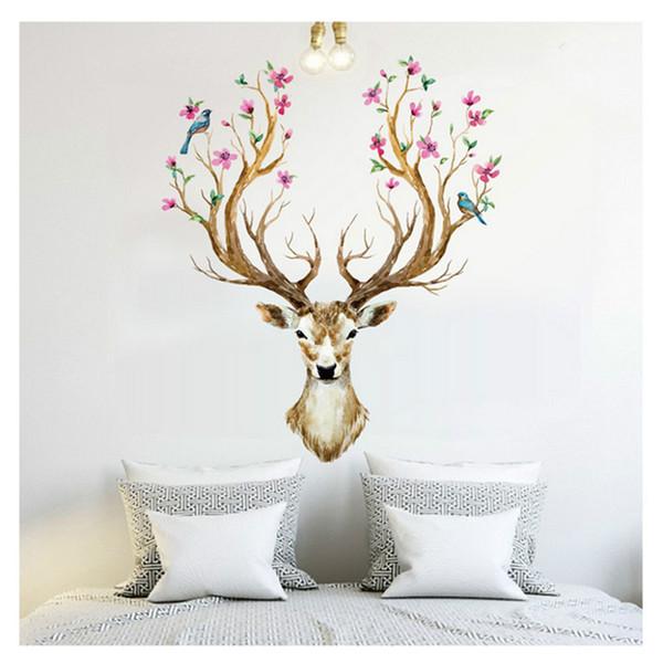2018 Beliebte Kreative handgemalte wandaufkleber Weihnachten deer selbstklebende tapete wohnzimmer hintergrund deer kopf tier Kinder geschenk