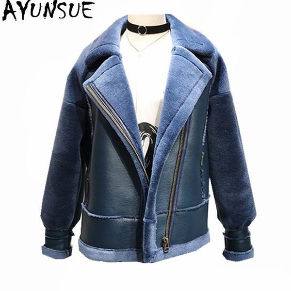 AYUNSUE 2018 теплый PU кожаные куртки мягкий шерсть шуба женский зимняя куртка женщин зеленые пальто плюс размер Abrigo Mujer WXF472
