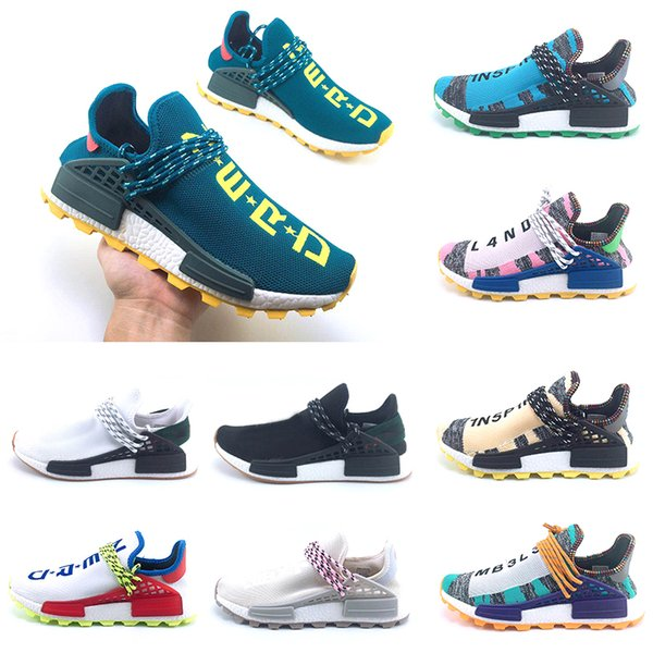 36-47 Newest HomeComing Solar Pack Afro Red Nerd NMD Human Race Hi-Res Aqua Running Shoes Pharrell Williams HU Runner sports Trainer sneaker