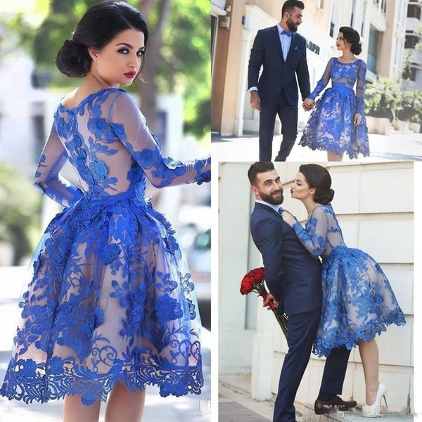 2018 Royal Blue Lace Appliques Illusion Long Sleeves Cocktail Party Dress Knee Length Short Homecoming Prom Ball Gowns Dress vestidos