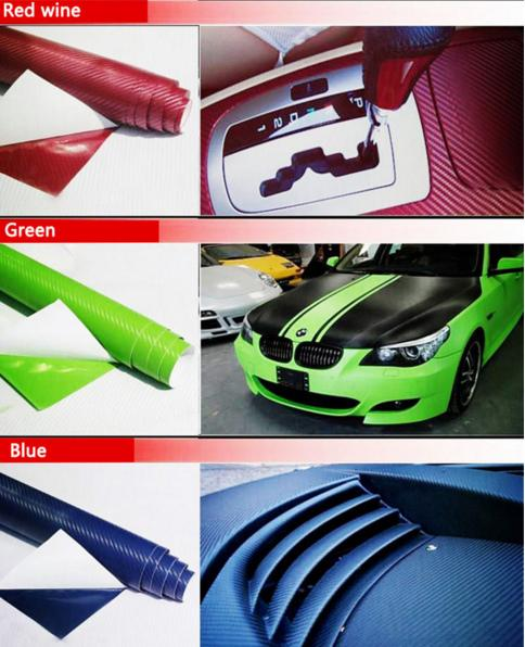 10PCS 127CM*10CM 3D Color Modification Film Car Interior Whole Vehicle Color Change Paste Carbon Fiber Color Change Sticker
