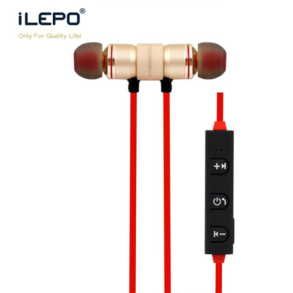 Music headphone wireless bluetooth Handsfree Metal Magnetic Design Stereo Headphones with Mic Sports Earbuds Microphone Running MP3 Earphone