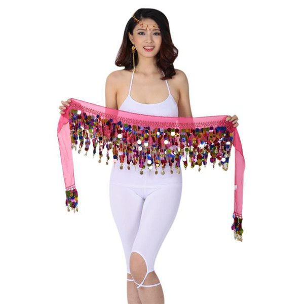 2018 Women 10 Colors Belly Dance Hip Chiffon Skirt Scarf Wrap Belt With Golden Coins Sequins Dancing Accessories F2