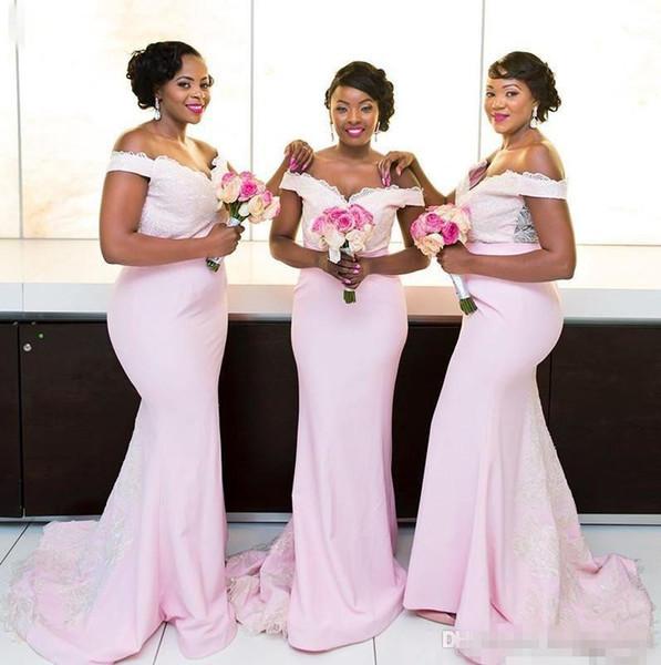мягкий розовый русалка платья невесты для свадьбы плюс размер с плеча кружева аппликации горничной платья развертки поезд платье невесты