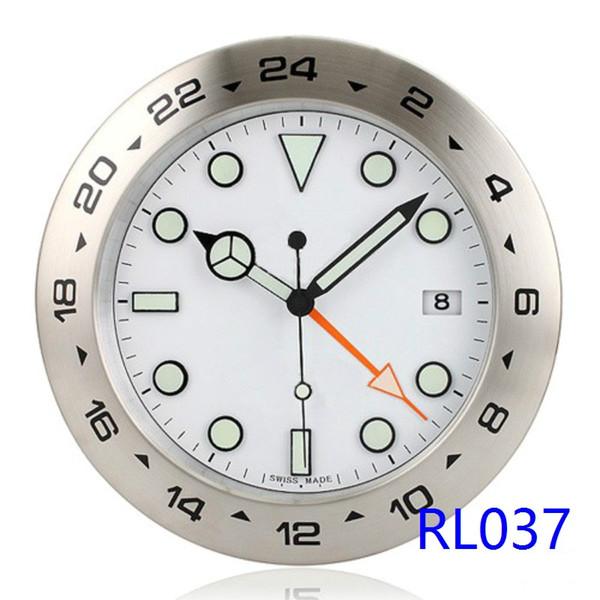 Reloj de pared súper silencioso de lujo marca Exp II GMT Reloj de pared de metal rlx con iluminación de la fecha 24 horas de exhibición