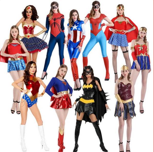 Caliente sexy Avengers Capitán América traje del tema Mujeres superhéroes murciélago spdidewomen cosplay Halloween DS Party Disfraces Cosplay