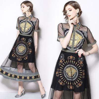 Reteo Barroco Style Moda mujer Mesh Vestidos de malla, Belleza Impresión Long Vestidos Mujeres, Solapel Neck, manga corta