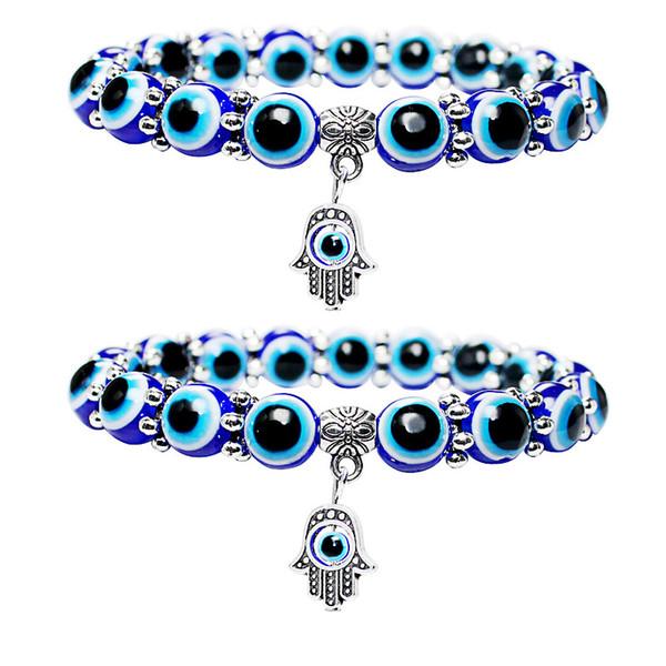 Hamsa Fatima Hand Turkish Blue Evil Eye Bracelet Handmade Beads Bracelet Bangles For Women & Men Fashion Jewelry Free DHL G377S