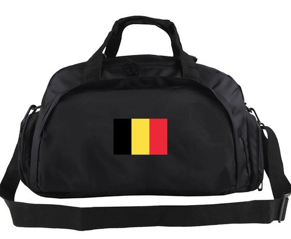 Belgium duffel bag Yellow red black flag tote Country banner backpack 2 use way exercise luggage Sport shoulder duffle Emblem sling pack