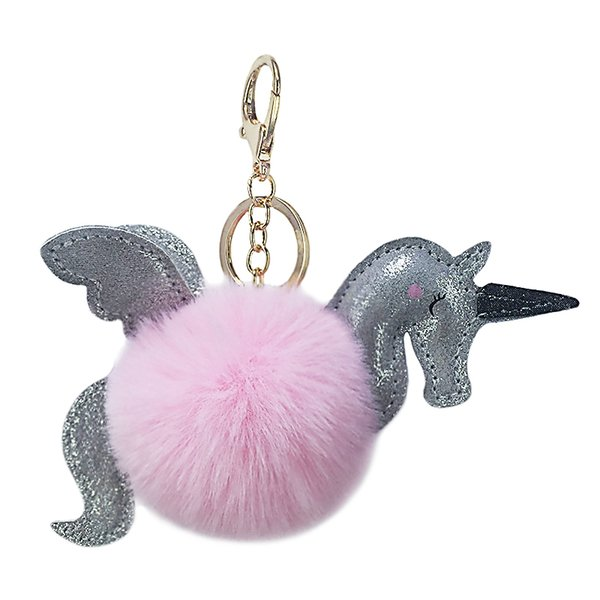 New idea PU Unicorn flying horse hair ball key pendant pendant artificial wool lady bag auto key accessories accessories