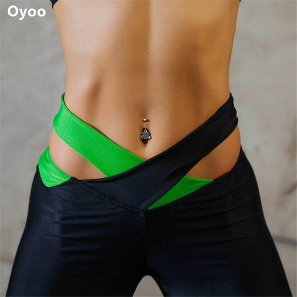 Oyoo Cross Waist Contrast Yoga Pants Sexy Hips Running Sport Quick-drying Fitness Tights Workout Gym Leggings Sportswear 0.2kg