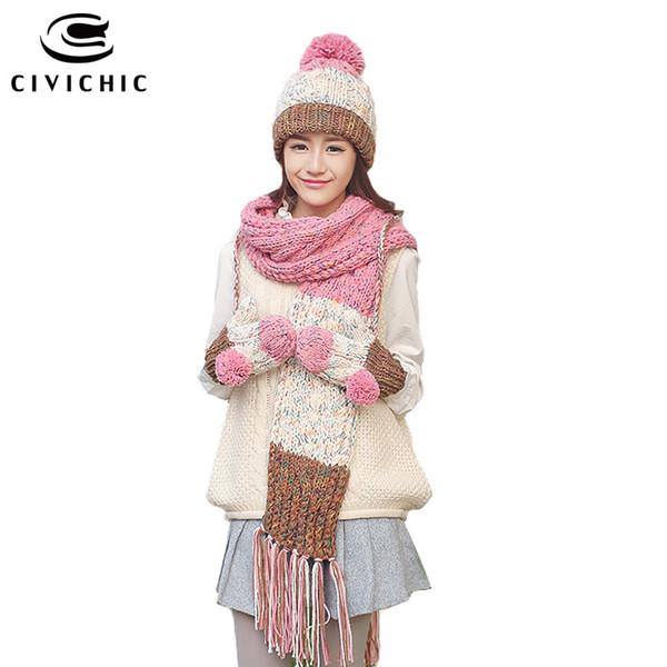 CIVICHIC Top Grade Winter Warm Set Knit Hat Scarf Gloves Girl Velvet Pompon Headwear Beanies Tassel Shawl Thicken Mittens SH177