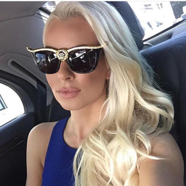 Retro Maxi-Katzenaugen-Sonnenbrille Frauen-Marken-Designer Luxus-Sonnenbrillen für Damen Gold-Frau Sunglass Shades