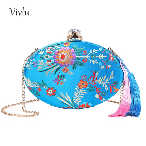 Women Vintage Floral Mini Clutch Purse Diamond Hasp Embroidery Flower Cocktail Evening Bag for Wedding with Tassel BG-001