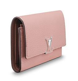 M62156 CAPUCINES COMPACT WALLET pink Real Caviar Lambskin Chain Flap Bag LONG CHAIN WALLETS KEY CARD HOLDERS PURSE CLUTCHES EVENING