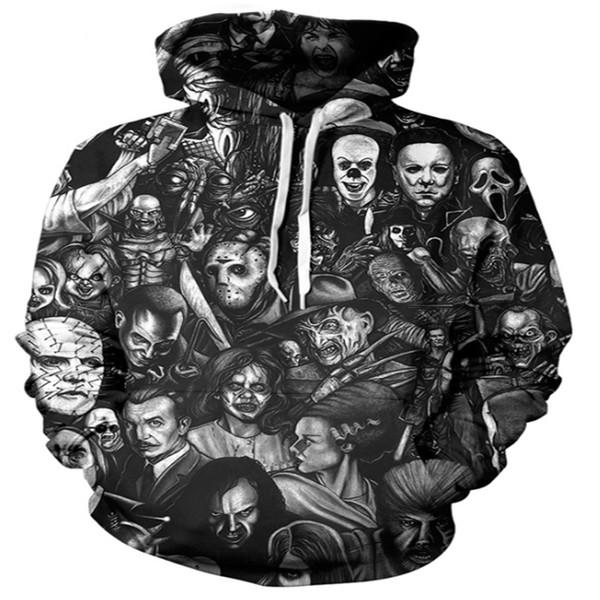 New Hot Fashion Couples Male Female Unisex Horror Skull 3D Print Hoodies Hoody Sweatshirts Jacket Pullover Tops