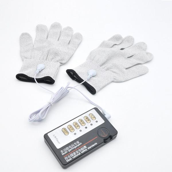 top popular BDSM Electric Shock Electrode Gloves Silver Fiber Estim Stimulation Therapy Bondage Gear Electro Shock Gloves Adult Games Sex Toys for her 2021