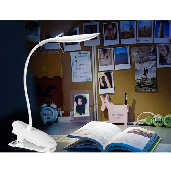 USB Rechargeable Clip Light Portable Adjustable LED Desk Lamp Reading Table Lamp Bedside Light