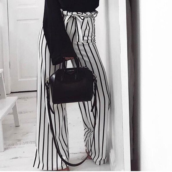 Women Pants High Waist Striped Office Wide Leg Elegant 2019 New Clothing Streetwear Female Trousers WS9622Y