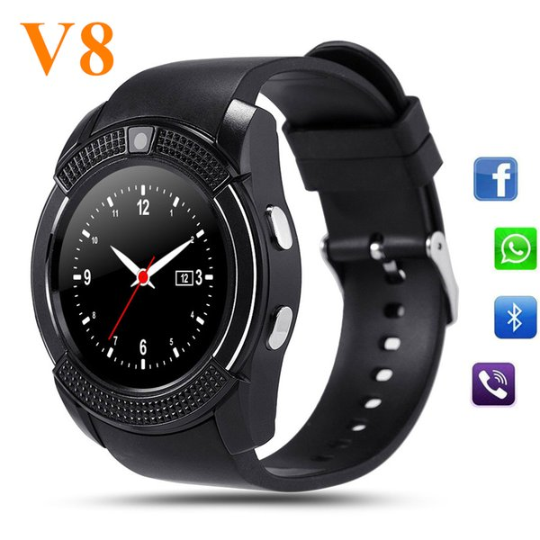V8 Smart Watch Bluetooth SmartWatch With Camera SIM IPS HD Full Circle Display Smart Watch For Android System With Retail Box