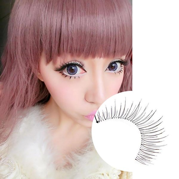 10 Pairs Hand Made Natural Long Plastic Black Terrier Makeup False Eyelashes Eye Lashes Extension For Party Nude Look ET