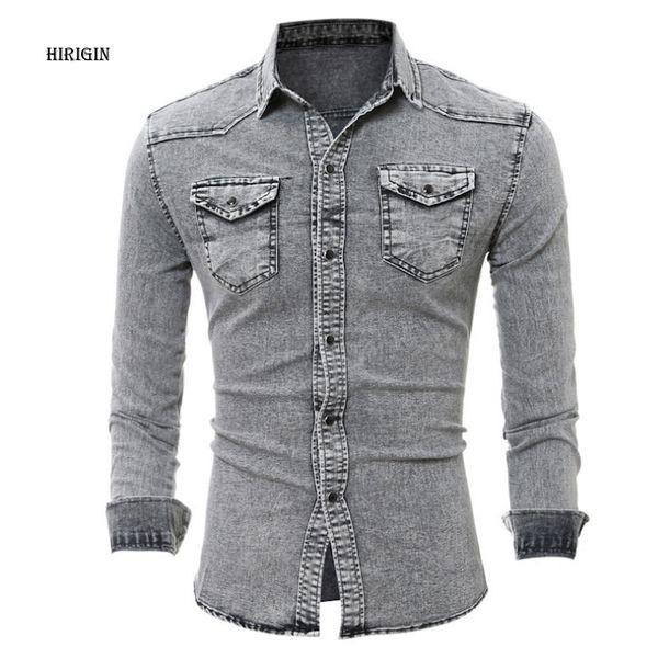 Nueva Camisa de mezclilla Hombre Algodón Jeans Camisa de moda Slim Manga larga Vaquero Elegante Lavado Slim Fit Tops Tamaño asiático