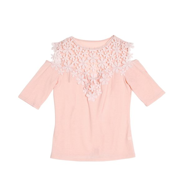 fd563a859a1c Ladies Slim T-Shirts one pieces Trendy Women Half Sleeve Casual Lace round  neck Tops