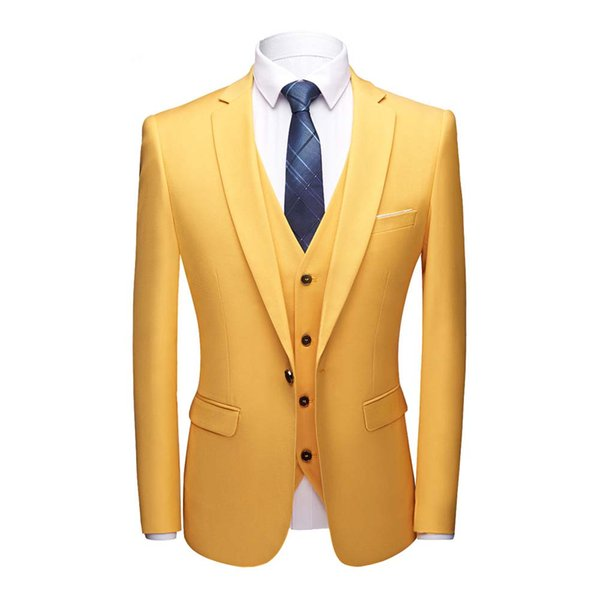 2019 New Arrival Yellow One Button 3 Pieces (Jacket+Pants+Vest) Notched Collar Suits Men Suits Wedding Dinner Party Tuxedos
