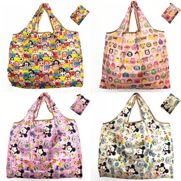 Nueva Moda Tsum Tsum mujer cabritos de las muchachas de nylon grande de dibujos animados de compras doblado los bolsos para los niños