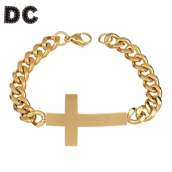 DC New Wide Chain Bracelets Gold Silver Color Stainless Steel Cross Charms Bracelets Bangle for Womem Christian Prayer Jewelry