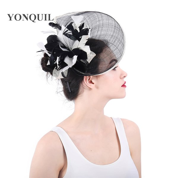 2018 New sinamay Flower Headdress black and ivory mix color Bride Wedding Flower Hat For Women Fancy Party Fascinator Hair Clips SYF321