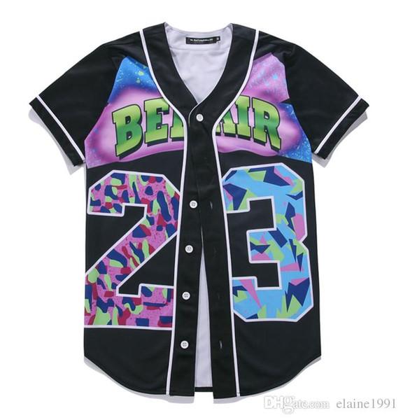 Mens Single Breasted 3D Shirt Streetwear Hip Hop Summer T Shirt 23 Fresh Prince Chill Flower Overshirt Baseball Jersey M-3XL