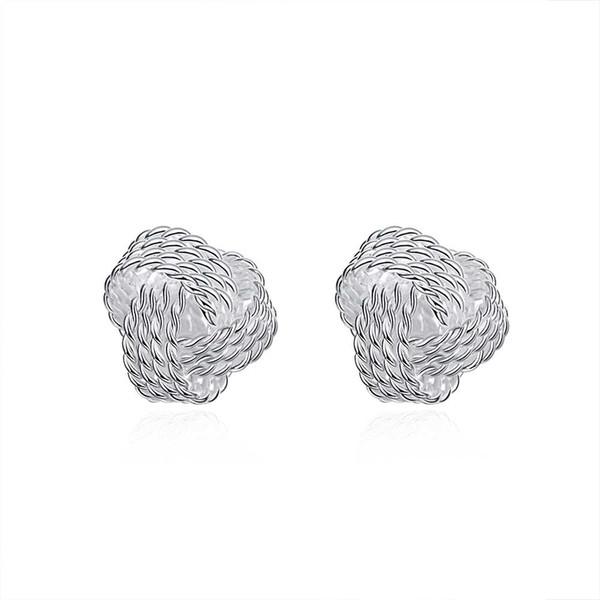 Tennis orecchio globulare argento ornamento semplice orecchini a bottone Orecchini Ringraziamenti San Valentino romantico regali di Natale per le donne Ragazze