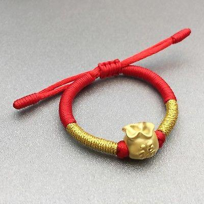 New Arrival Pure 999 24K Yellow Gold Women 3D Blessing Bag Knitted Bracelet Adjustable