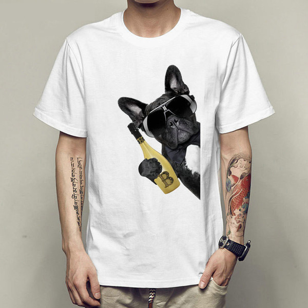 Beer dog t shirt Cool guy short sleeve gown Quick dry tees Leisure printing clothing Quality modal Tshirt