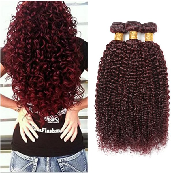 8A Uprocessed Grade Kinky Curly 99J Mink Brazilian Hair Weave Weft 3Pcs Burgundy Human Hair Bundles Deep Curly Wine Red Kinky Curl weave