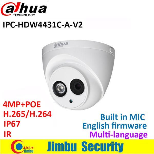 Dahua 4MP caméra IP IPC-HDW4431C-A-V2 remplacer IPC-HDW4431C-A POE IR30M H.265 Full HD intégré MIC-caméra de surveillance multiple langue