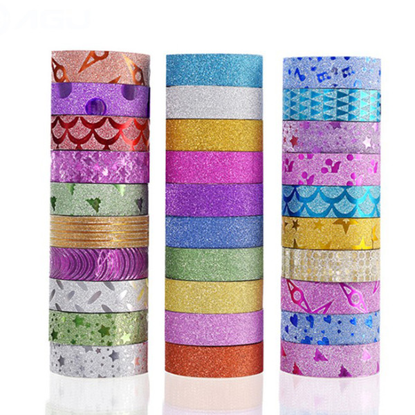 top popular 10 Pcs lot Glitter Washi Tape Stationery Scrapbooking Decorative Adhesive Tapes DIY Masking Tape School Supplies 2016 2021