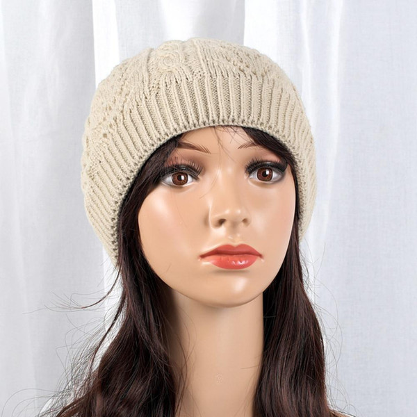 Winter Thick Fleece Lining Solid Color Knitted Beanie Men Women Warm Cap Hat