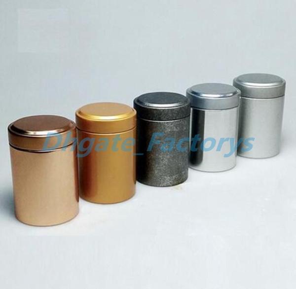 45*67mm Round Column Small Tea Tin Box Metal Tin Candy Storage Boxes Seal Lip Pocket Carry Case Silver Free Shipping