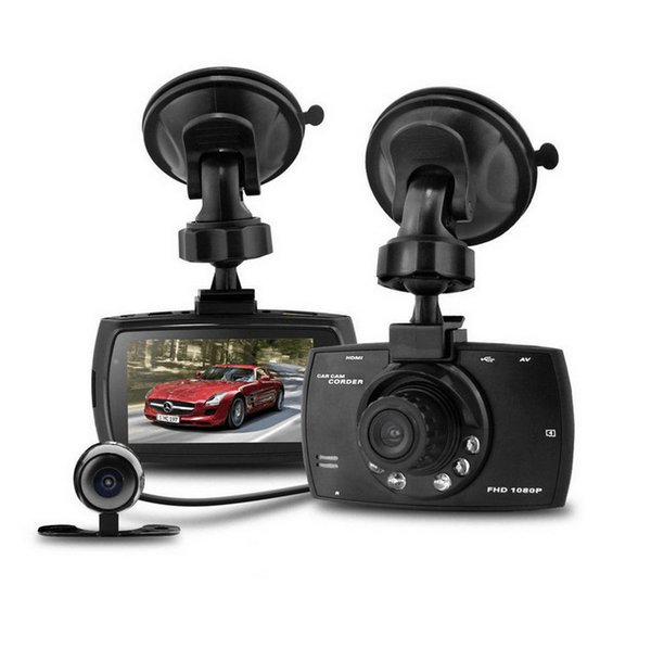"G30 1080P Dual lens Double Camera Car DVR 2.7"" LCD G-sensor Night Vision Motion Detection Car Dashboard Cam 16pc/lot"